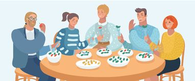 Group of people are eating. Vector cartoon illustration of group people are eating, talking and smiling while having lunch in cafe. Friends, family or Colleagues royalty free illustration