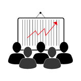 Group of people and economic growth indicator table. Vector illustration Royalty Free Stock Images