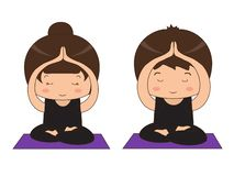 A group of people engaged in yoga. Illustration vector illustration