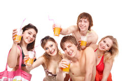 Group of people enjoying cocktails. Stock Images
