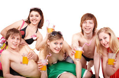 Group of people enjoying cocktails. Royalty Free Stock Image