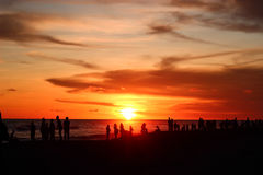 Group of people enjoying the sunset Stock Photography