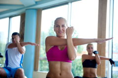 Group of people exercise with balls on yoga class Royalty Free Stock Photography