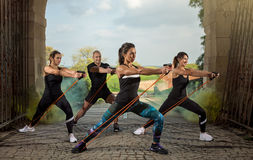 Group people exercise with resistance rubber Stock Photos
