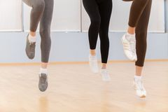 Group Of People Exercising In Dance Studio. Royalty Free Stock Photo