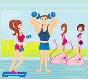 A group of people exercising in the gym Royalty Free Stock Photography