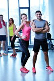 Group of people exercising at the gym Stock Photo