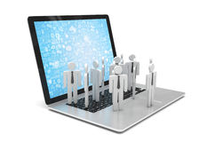Group of people figures on laptop Stock Images