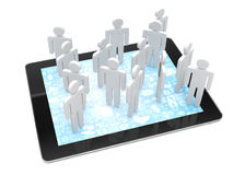 Group of people figures on tablet PC Royalty Free Stock Images