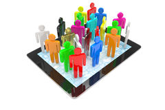 Group of people figures on tablet PC Royalty Free Stock Photography