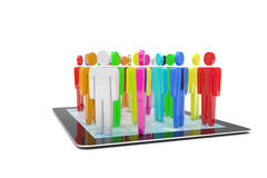 Group of people figures on tablet PC Stock Photography