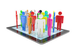 Group of people figures on tablet PC Stock Image
