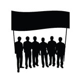 Group people with flag silhouette Stock Image
