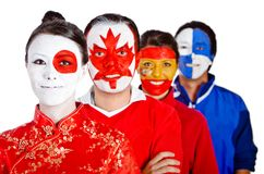 Group of people with flags Stock Photography