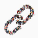 Group  people  form  chain link. A large group of people in the form of chain link Stock Photo