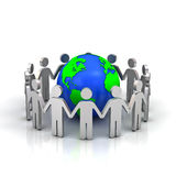 Group of people forming circle around the world Royalty Free Stock Photography