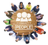 Group of People Forming a Circle Holding Hands Royalty Free Stock Image