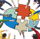 Group of People Forming a Jigsaw Puzzle Speech Bubble Royalty Free Stock Image