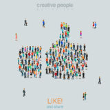 Group people forming like thumbs up sign flat vector isometric Royalty Free Stock Photography