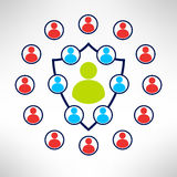 A group of people forming a shield with enemies. Around. Man defence concept. Vector Stock Photography