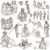 Group of people. Freehands, hand drawn collection. Line art. Royalty Free Stock Images
