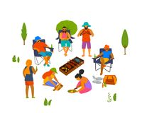 Group of people, friends grilling making barbeque, cooking preparing food outdoor. Vector illustration isolated scene stock illustration