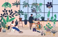 Group of people or friends spending time at greenhouse or home garden with plants growing in pots. Young men and women. Caring for houseplants. Trendy vector stock illustration