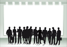 Group of people in front of canvas. A group of people in front of a canvas Royalty Free Stock Photography