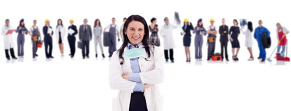 Group of people in front female doctor. Group of industrial workers,workers physician and bussines people royalty free stock image