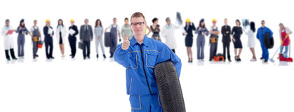 Group of people in front mechanic Stock Images