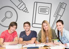 Group of people in front of research study graphics Stock Photography