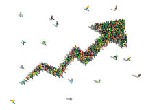 Group of people gathered together in the shape of growing graph. Arrow Stock Photo
