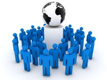 Group of people gathering around planet earth Stock Image