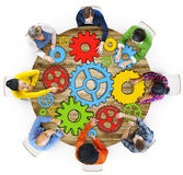 Group of People with Gear Symbol Photo Illustration Royalty Free Stock Images