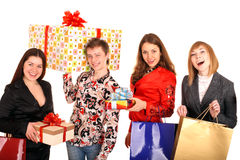 Group of people and gift box. Royalty Free Stock Images