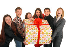 Group of people and gift box. Royalty Free Stock Photo