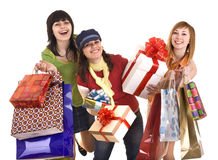 Group people girl with  shopping bag and gift box. Royalty Free Stock Photos