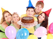 Group People Giving Cake. Royalty Free Stock Images