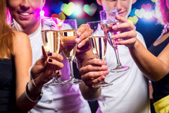 Group of people with glasses of champagne Stock Images