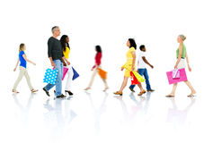 Group of People Go for Shopping Royalty Free Stock Photography