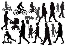 Group of people going walking in different directions. Crowd. Silhouettes. Side view vector illustration