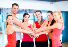 Group of people in the gym celebrating victory Royalty Free Stock Photos