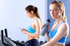 Group of people at the gym exercising on cross Royalty Free Stock Images