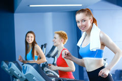 Group of people at the gym exercising on cross trainers Royalty Free Stock Image