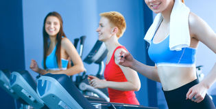 Group of people at the gym exercising on cross trainers Royalty Free Stock Photo