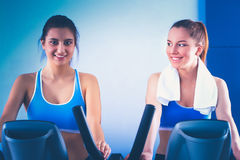 Group of people at the gym exercising on cross trainers Royalty Free Stock Photography
