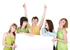 Group of people with hand up take banner. Royalty Free Stock Images