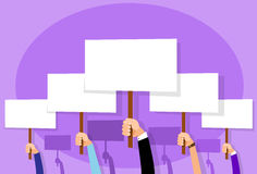 Group of People Hands Crowd Hold Placard Sign. Board Blank with Copy Space Flat Design Vector illustration Stock Photo
