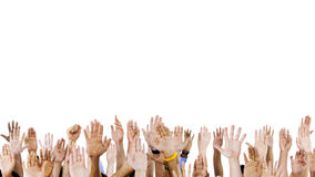 Group of People Hands Raised Royalty Free Stock Images