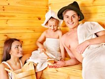 Group people in hat  at sauna. Stock Image